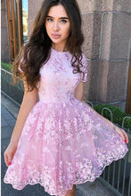Short Sleeve Lace Pink Homecoming Dresses With Appliques OM545