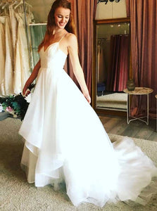 A-line V-neck Tulle Spaghetti Strap Wedding Dresses Boho Bridal Gown OW527