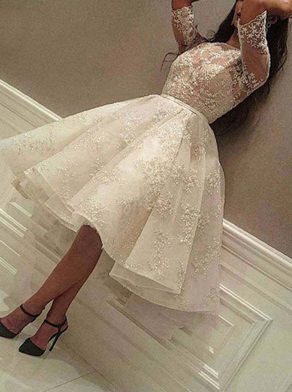 Women Short Sleeve Short Evening Party Dress, Lace Short Prom Dress PO018
