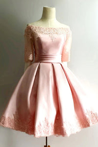 1/2 Sleeve Off Shoulder Short Prom Dress Pink Short Homecoming Dresses OM536
