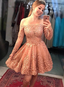 Off-Shoulder Long Sleeves Coral Lace Appliques Short Prom Dress, Homecoming Dress OM374