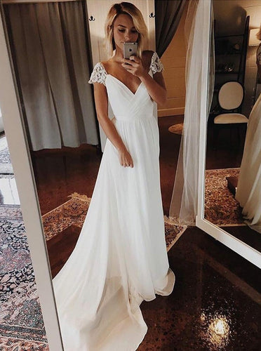 Simple Chiffon Wedding Dresses Bohemian Beach Bridal Gowns With Sleeve OW519