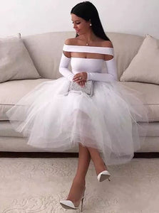 Sexy White Homecoming Dress for Women Long Sleeve Short Evening Party Dress PO017