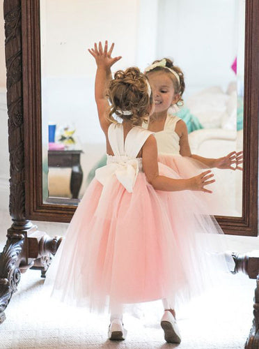 Cute A-line Pink Long Tulle Flower Girl Dress With Bowknot OF130