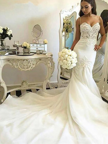 2018 Spaghetti Straps Trumpet/Mermaid Chapel Train Tulle Wedding Dresses OW201