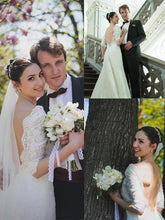 1/2 Sleeves Sheath/Column V-neck Lace Backless Wedding Dresses OW203