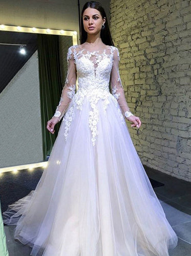 A Line Long Sleeves Round Neck Tulle Wedding Dresses With Lace Appliques OW545