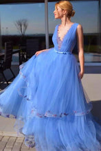 Cinderella Blue Prom Dresses Pageant Dress With Appliques PO052