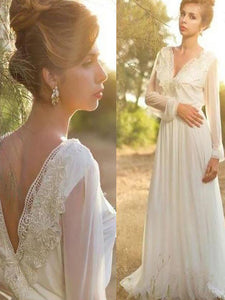 A-Line Lace Long Sleeves V-neck V-Back Chiffon Boho Wedding Dresses OW207