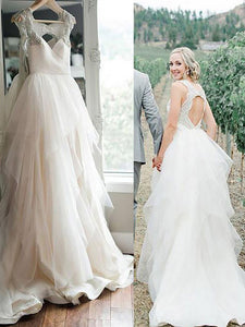 A-Line/Princess Straps Open Back Ruffles Tulle Wedding Dresses OW208