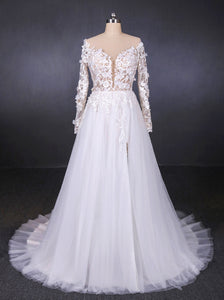 A-line V-neck Long Sleeve Wedding Dress With Lace Appliqued OW572