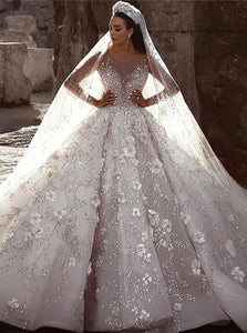 Gorgeous Long Sleeves Flowers Ball Gown Wedding Dress With Sequin Beaded OW573