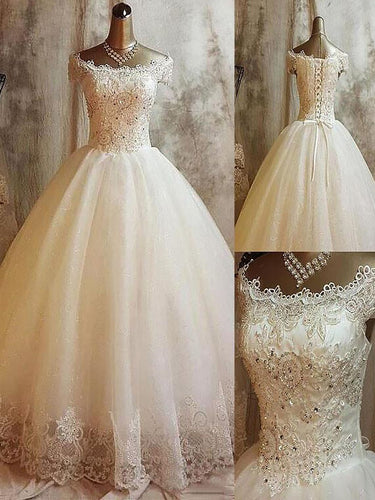 Off-Shoulder Sleeveless Ball Gown Applique Lace Up Tulle Wedding Dresses OW209