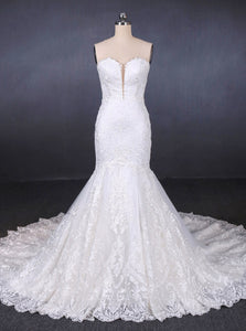 Sweetheart Neckline Mermaid Lace Wedding Dresses With Applique OW576