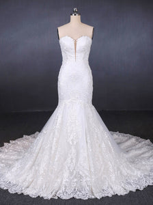 Sweetheart Lace Wedding Dresses, Mermaid Lace Appliques Bridal Gown OW554