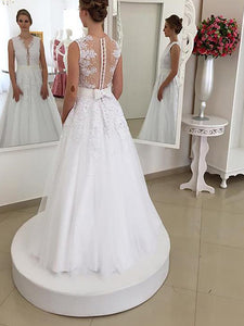 A-line Sleeveless V-neck Back Bowknot Tulle Ball Gown Wedding Dresses OW212