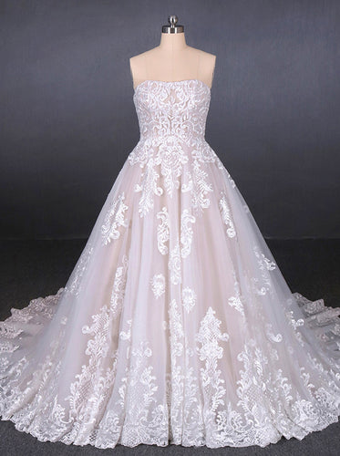 Strapless Ball Gown Lace Wedding Dresses With Appliques OW577