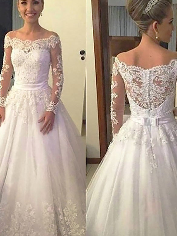 Off-Shoulder Lace Long Sleeves Tulle Ball Gown Wedding Dresses UK ...