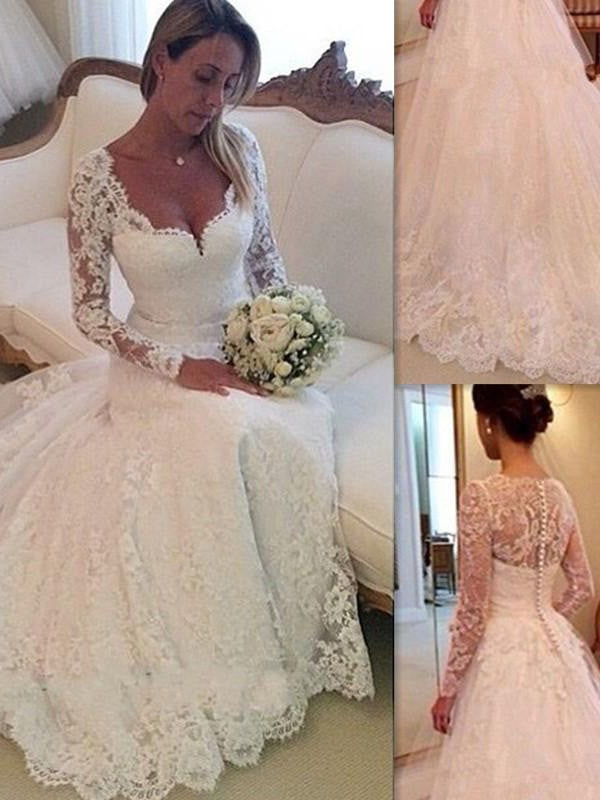 Classic Lace Long Sleeves Ball Gown Court Train Tulle Wedding Dresses OW112