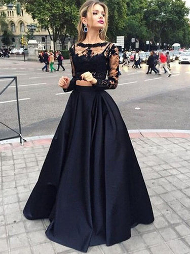 Cheap Black Ball Gown Long Sleeves Bateau Satin Floor-Length Evening Dresses, OP106