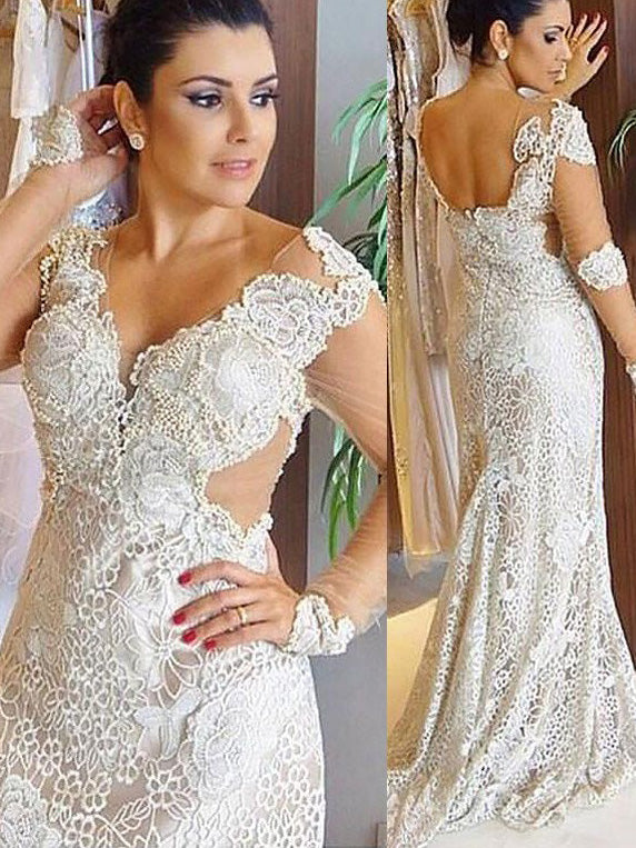 Lace Long Sleeves Sheath/Column V-neck Open Back Wedding Dresses OW211