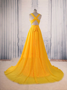 A-line Yellow Long Prom Gown Cross-Back Chiffon Evening Dress PO144