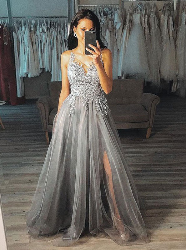 A Line V Neck Appliques Tulle Grey Long Prom Dress With Split PO036
