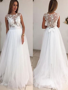 A-Line/Princess Scoop Tulle Wedding Dresses With Applique OW213