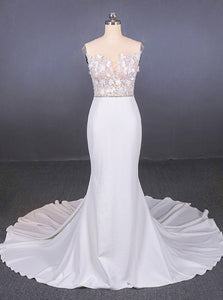 See-Through Neckline Lace Appliques Mermaid Wedding Dresses OW575