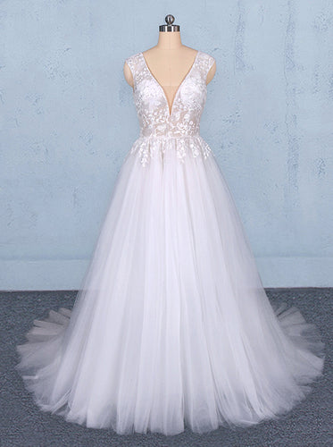 Tulle Beach Wedding Dresses with Appliques, V-neck Backless Bridal Dress OW553