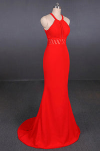 Halter Red Prom Dresses Mermaid Long Evening Dress With Cut Out Back PO049