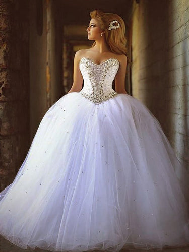 Gorgeous Sweetheart Beading Tulle Ball Gown Wedding Dresses OW216