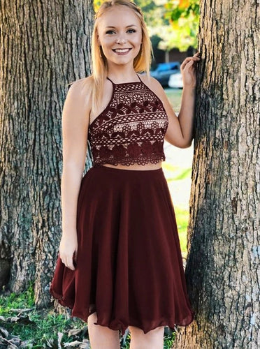 Halter Burgundy Lace Chiffon Homecoming Dress Two Piece Short Prom Dress OM390