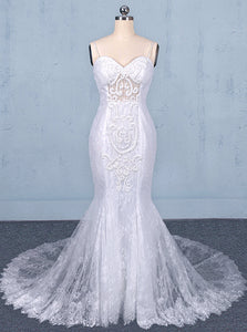 White Mermaid Lace Spaghetti Wedding Dresses With Appliques OW579