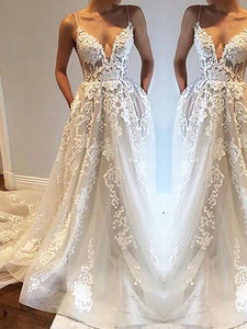 A-Line/Princess Spaghetti Straps Tulle Wedding Dresses With Applique OW215