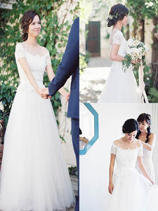 A-Line/Princess Bateau Tulle Wedding Dresses With Cap Sleeves OW219