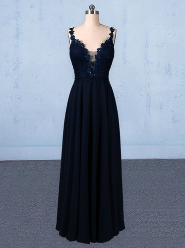New Flower Straps V-neck Navy Blue Long Prom Evening Dresses PO050