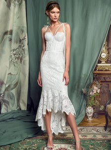 Simple Spaghetti-straps Lace Sheath Prom Dress, Lace Wedding Dress OW546