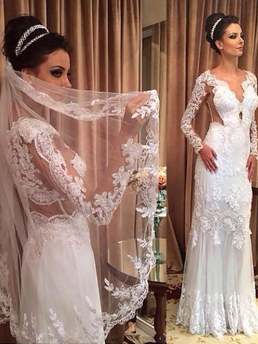 Long Sleeves V-neck Sheath/Column Tulle Wedding Dresses OW223