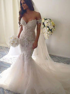 Off-Shoulder Tulle Trumpet/Mermaid Chapel Train Wedding Dresses OW224