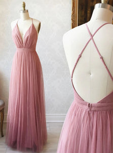 A Line V Neck Backless Bridesmaid Dresses, Simple Tulle Evening Dress OB401