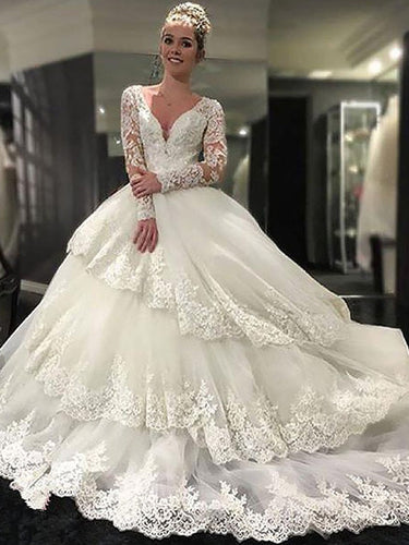 Luxurious Lace Long Sleeves V-neck Tulle Ball Gown Wedding Dresses OW226