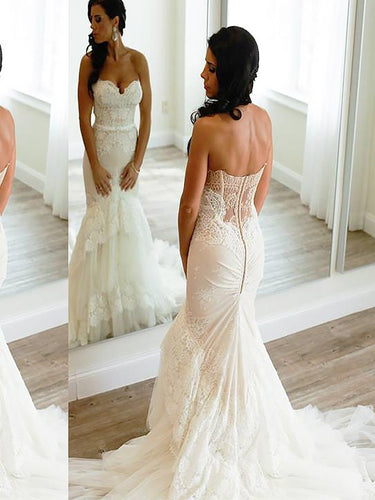 Sweetheart Sleeveless Lace Trumpet/Mermaid Tulle Wedding Dresses OW225