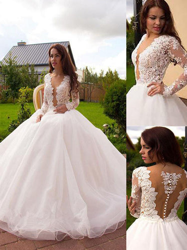 Sexy Long Sleeves V-neck Tulle Ball Gown Wedding Dresses OW227