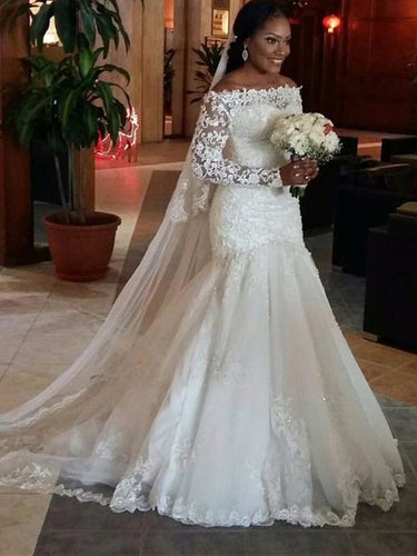 Off-Shoulder Mermaid Lace Long Sleeves Floor-Length Gown, Trumpet Tulle Wedding Dresses OW114