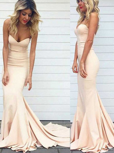 Satin Trumpet Mermaid Sweetheart Sleeveless Sweep Train Long Evening Dresses, OP108