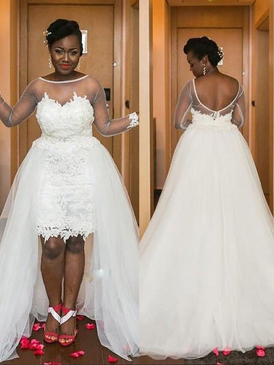 Cheap Long Sleeves A-Line/Princess Scoop Tulle Plus Size Wedding Dresses UK  Sale, OW222 – Ombreprom.co.uk
