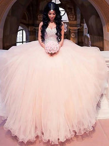 Beading Sweetheart Ball Gown Tulle Wedding Dresses OW229