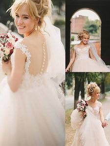 Scoop A-Line/Princess Illusion Back Tulle Wedding Dresses OW230