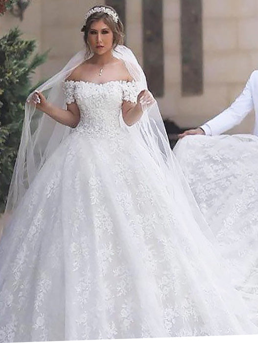 Cheap Off Shoulder Lace Short Sleeves Tulle Ball Gown Wedding